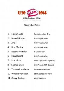 Startreihenfolge u20 ö-Slam Leoben